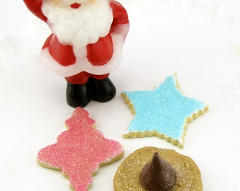 Fake Christmas Cookies Set of 3~ Two Faux Sugar Cookies, 1 Faux Peanut Butter Kiss Cookie~Can Be Ornaments 12 Legs Original Design