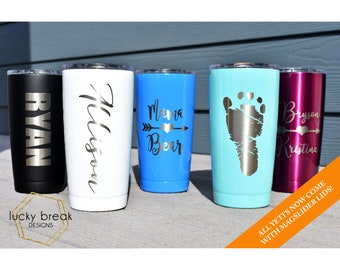 YETI Custom Engraved Powder Coated Cup Tumbler 20oz 30oz Personalized Yeti Polar Camel Name Monogram Tumbler Rambler