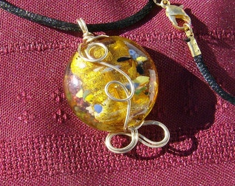 Handcrafted Wire Wrapped Pendant - Magnificent Yellow Foiled Multicolored Glass in 14k Gold Filled Wire by JewelryArtistry - P720