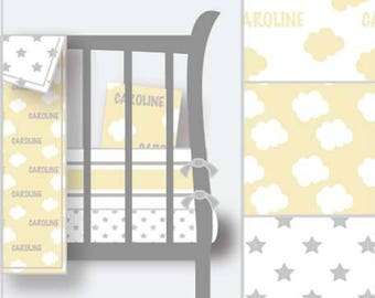 Personalized Nursery Fitted Crib Sheet–Yellow Nursery-Neutral Nursery-Personalized Crib Sheet–Cloud Crib Sheet-Star Crib Sheet
