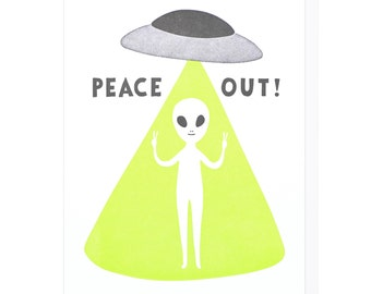 Peace Out Letterpress Card