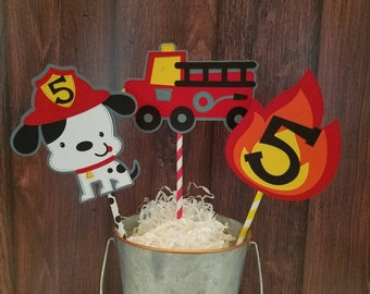 Firetruck Birthday Centerpiece