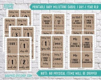 Digital Baby Milestone Cards, 1 Day-1 Year Old | First Year, Baby Shower Gift, Welcome | PDF, Instant Download, Ready to Print, NOT Editable