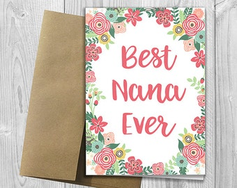 Mother birthday card etsy best nana ever mothers day birthday any occasion 5x7 printed floral watercolor bookmarktalkfo Image collections