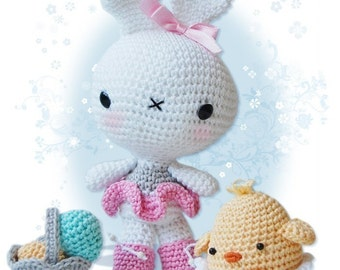Amigurumi Crochet Bunny and Chick Pattern - Easter Bunny and Chick in an Egg Shell