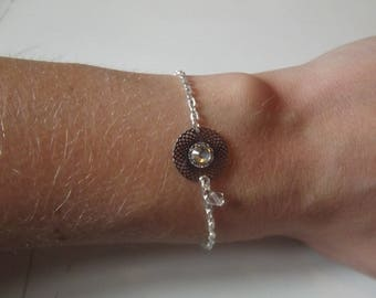Silver sequin and transparent Beads Bracelet