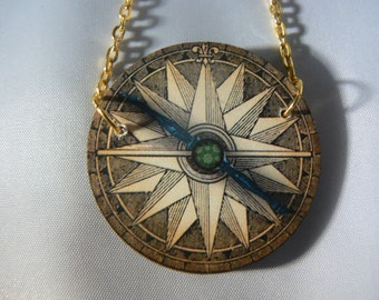 compass map  necklace  devine kitsh  woodcut lasercut retro