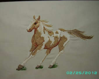 Paint horse embroidered quilt square