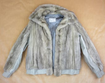 SALE - Vintage Grey Fur Jacket