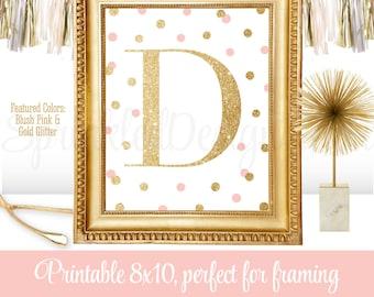 Printable Baby Girl Nursery Decor Wall Art - Letter D - Name Initial Monogram Art Print Sign, Blush Pink Gold Glitter 8x10 JPG