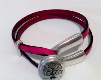 Leather V Shape Bracelet, Womens Pink Leather Bracelet, Double Wrap Leather Bracelet, Handmade Leather Bracelet