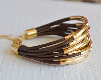 Brown Leather Cuff Bracelet with Gold Tube Beads - Multi Strand Bangle Women's Bracelet ... by  B A L O O S