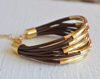 Braun Leder Manschette Armband mit Gold Rohr Perlen - Multi-Strang Armreif Frauen... von B eine L-O-O-S