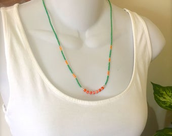Skinny Tropical NECKLACE green necklace orange necklace beaded necklace skinny necklace layering necklace tropical jewelry