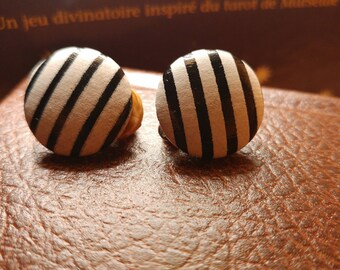 Vintage earrings vintage clips • small striped black and white • clip earrings cute jewelry • Montreal pinup style