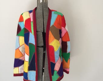 Vintage CRAZY QUILT Jacket • 1970s Clothing • Coat of Many Colors Unique Handmade Multicolor Patchwork Lightweight Blazer Women Medium Large