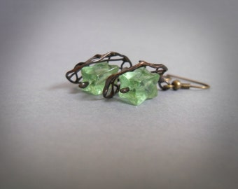 Wire jewelry, beaded artistic earrings, gift for women, contemporary jewelry, green, fashion jewelry, funky jewelry