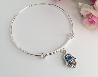 Evil Eye Bracelet, Evil Eye Jewelry, Evil Eye Charm Bangle, Namaste, Hamsa Bangle, Evil Eye Charm Bracelet, Yoga Bracelet, Eye Bracelet