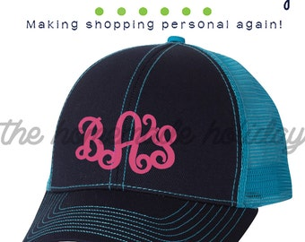 Navy and turquois Monogram Trucker Hat, Trucker cap, adjustable cap, personalized hat, embroidered hat