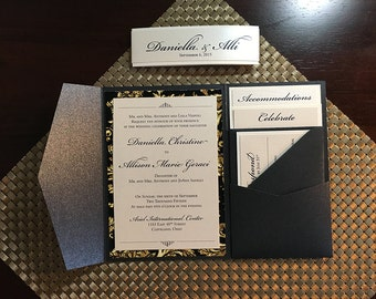 Black and Gold formal Wedding Invitation