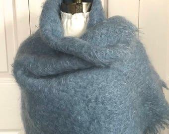 mohair shawl . blue Mohair Shawl . made in Scotland