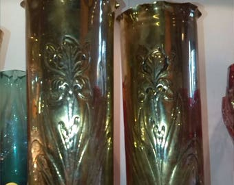 A Pair of Trench Art Brass Shell Casing Vases With Feet & Flower Design