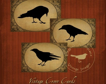Vintage Crow Silhouette Cards Printable Digital Download