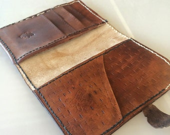 Custom leather passport wallet, detailed and personalised, multiple card holders and pockets