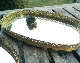 Vintage Brass Mirror Tray with feet, can be painted Antique White on request, bathroom or vanity decor item, cottage chic style