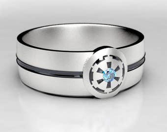 Star Wars Empire Silver Wedding Ring with Blue Diamond, Size 5 Ring, Size 9 ring, Geek Blue Diamond Wedding Ring, Diamond Wedding Band