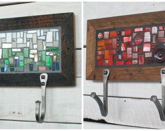 Two Hook Custom Coat Rack, Mosaic Coat Rack, Hand Forged Hooks, Entryway Coat Hooks, Key Rack, Wall Coat Rack, Mudroom Hooks