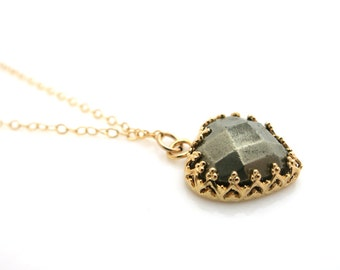 Heart Necklace, Gold Necklace, Pyrite Pendant, Pyrite Necklace, Pyrite Jewellery, Brown Necklace, Heart Pendant, Valentine Gift, For Her