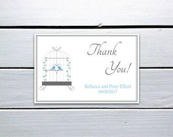 Printable Thank You Card: Blue Love Birds in Birdcage