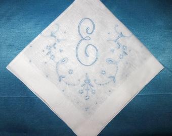 Bride Initial, Wedding Handkerchief, Ladies Vintage Hankies Wedding Something Blue, Bridal Gift  Blue Hankie