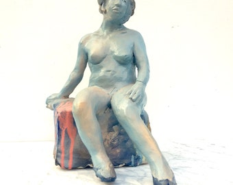 Ceramic Figure Sculpture, Blue Nude Woman Seated with Hat and Slippers, Figurine