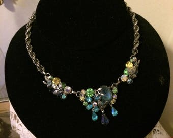 Stunning Vintage 50s  Blue Green Amber Teardrops Silver Tone Leaves ABs Ladies Choker Necklace Bridal Gift for Her