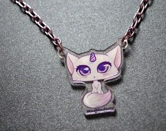 Kawaii metallic 90's pop necklace - fairy kei pastel unicorn cat necklace - girly purple cute manga anime style jewellery