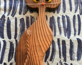"""Vintage 1970's Plywood Cat Statue with Funny eyes 7"""" Tall - vintage cat statue, cat lover, wood cat statue, 1970s decor"""