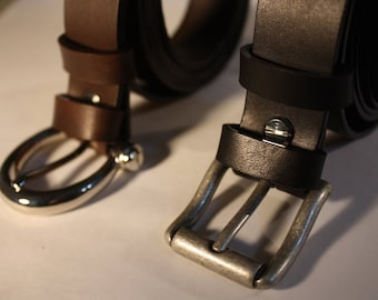 Leather belt black or brown, cm 2.5 width-belt in brown or black leather wide cm2, 5