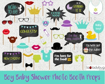 Photo booth props for baby shower (boy). Printable. DIY Blue, Lime and purple. Instant download. PDF Digital file. High resolution.