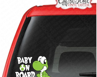 "Baby Yoshi ""BABY ON BOARD"" Vinyl Sticker #D3"