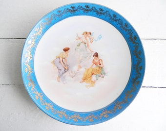 Vintage Romantic Porcelain Hanging Plate with Cerulean Blue Border - Three Graces by Carl Larsen