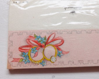 Vintage Hallmark wedding or bridal shower place card pkg 12 pink with wedding rings, forget me nots and ribbon new old stock nos ephemera