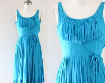 1960s bright blue chiffon dress // 1960s party dress // vintage dress