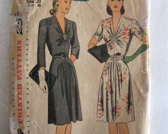 1940s Vintage Dress Simplicity 4655 Sewing Pattern, V Neck, Gathered Front Skirt, Short or 3/4 Sleeve, Spaghetti Bows, WWII Era, Bust 38