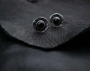 Rustic Onyx earrings /  Raw silver Post earrings / Onyx Studs / Gift for her / Rustic jewelry / Dainty Earrings / Raw / Simple earrings