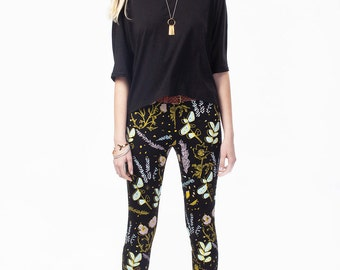 Floral Leggings - Hand Printed - Organic Cotton Leggings - Yoga Leggings - Cactus Leggings - High Waisted Leggings - Thief and Bandit®