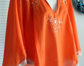 Vintage 1960s Orange Women's Peasant Blouse