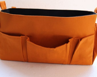 Extra Large Bag organizer - XL Purse insert in Dark gold and Black color