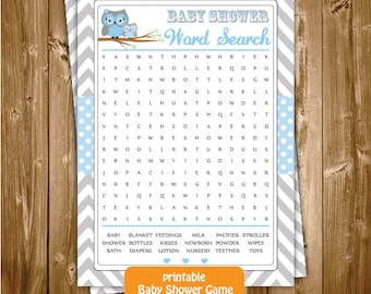 Baby Shower Word Search, Blue Grey Owl shower Word Search Game, Baby Shower Word Search, Owl Shower Printable Word Search, INSTANT DOWNLOAD
